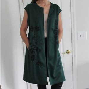 Natori Jackets & Coats - Notori Embroidered Ponte Vest